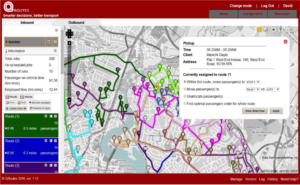 Screenshot of QRoutes GIS enabled interface