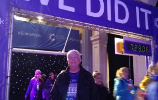 Jeff at the finish line of the Shine Walk